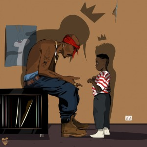 Artist representation of young Kendrick Lamar meeting 2pac
