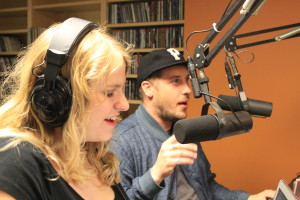 DJ, Heather Jackson, with Zach Carothers of Portugal. The Man inside WRVU