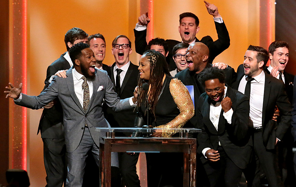 LOS ANGELES, CA - January 26, 2014 Winners of the best R&B Album Snarky Puppy and Lalah Hathaway (at the mike) at the 56th Annual GRAMMY(R) Pre-telecast show at Nokia Theater L.A. Live in Los Angeles, CA. Sunday, January 26, 2014. (Robert Gauthier / Los Angeles Times)