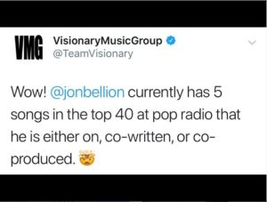 A tweet by Visionary Music Group posted October 12, 2019